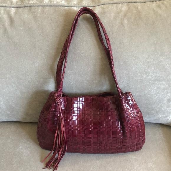 The Sak Red Woven Leather Shoulder Bag